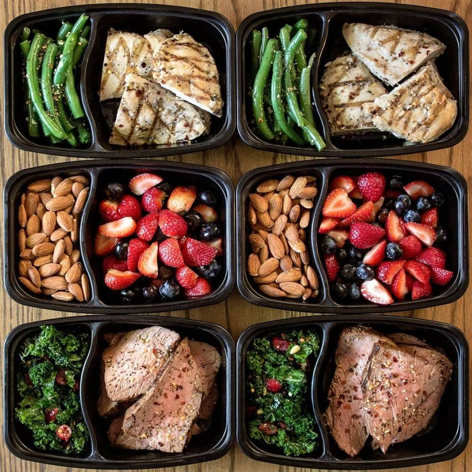 training food in plastic containers covering all macros and nutrition